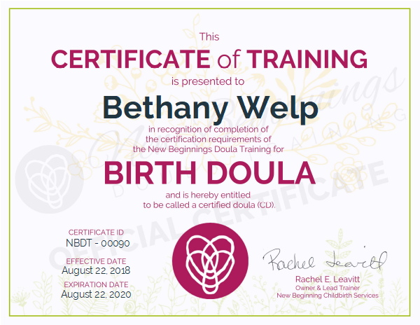 Bethany Welp, Certificate of Training, Birth Doula - Serving the Northeastern Colorado region