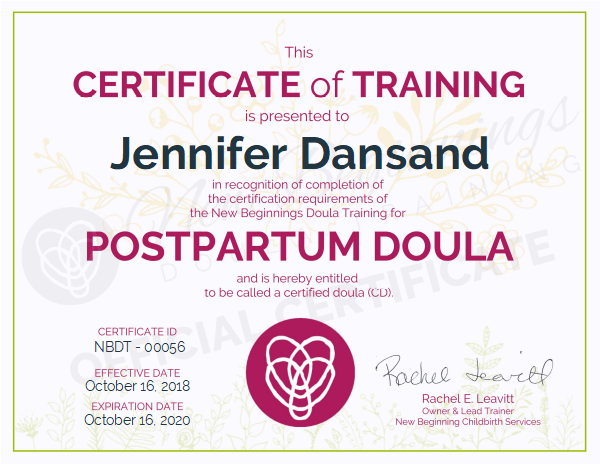 Jennifer Dansand, Certified Postpartum Doula Serving the Northeast Wisconsin Area