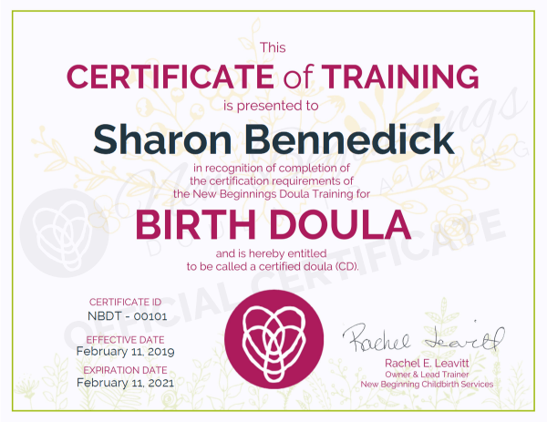 Certificate of Training, Sharon Bennedick, Birth Doula, Sunshine Coast, Queensland
