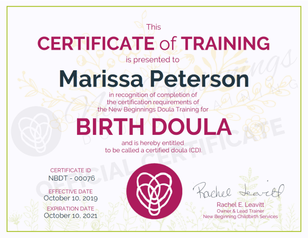 Certificate of Training for Marissa Peterson as a Birth Doula