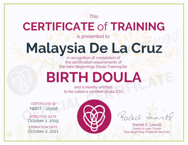 Certificate of Training - Malaysia De La Cruz - Birth Doula