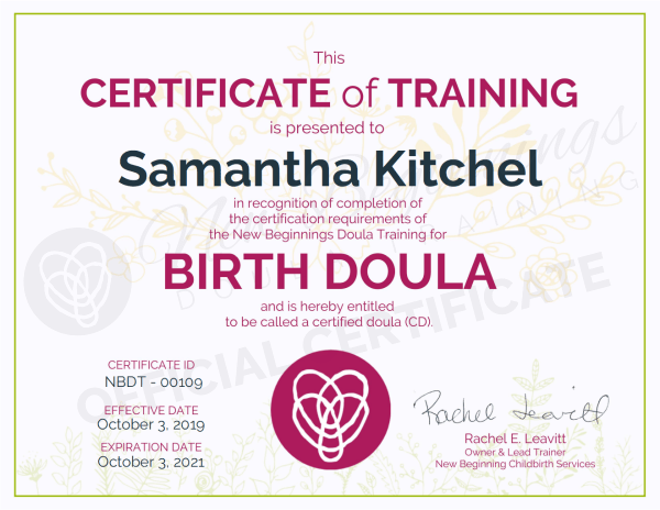 Certificate of Training - Samantha Kitchel - Birth Doula