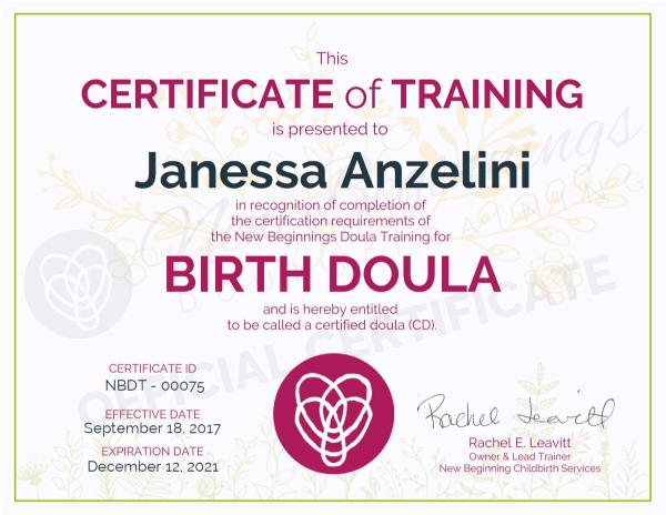Certificate of Training - Janessa Anzelini - Birth Doula