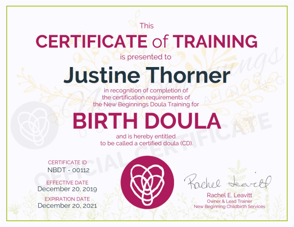 Certificate of Training, Justine Thorner, Birth Doula