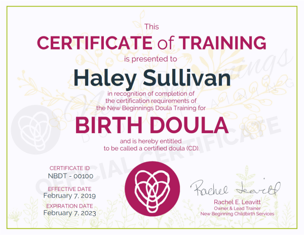 Certificate of Training, Haley Sullivan,  Birth Doula