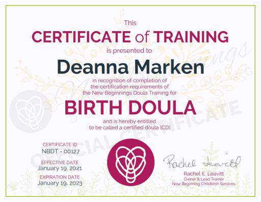 Certificate of Training Deanna Marken Birth Doula