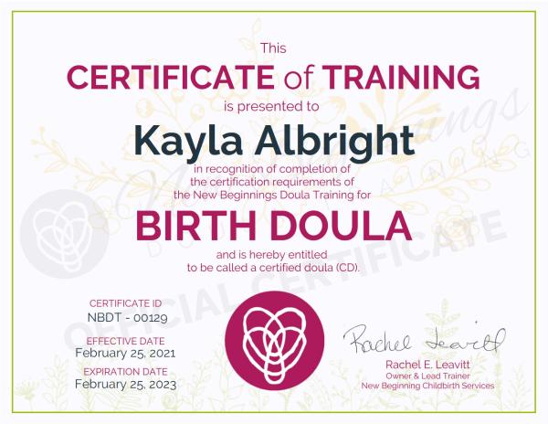 Certificate of Training Kayla Albright Birth Doula