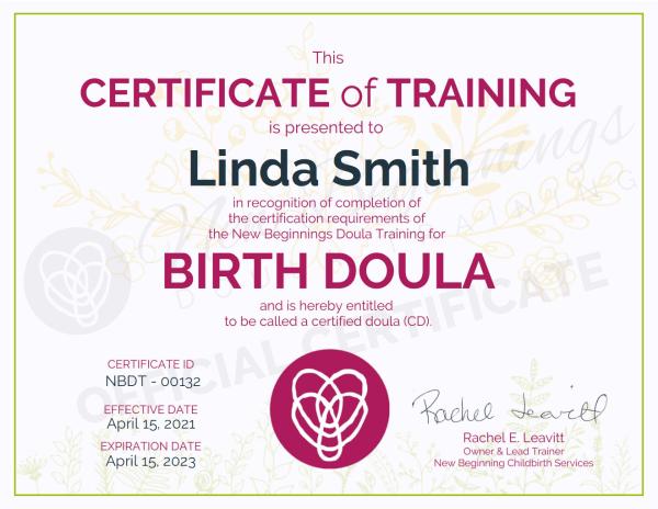 Certificate of Training, Linda Smith, Birth Doula