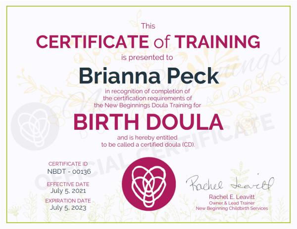 Certificate of Training, Brianna Peck Birth Doula