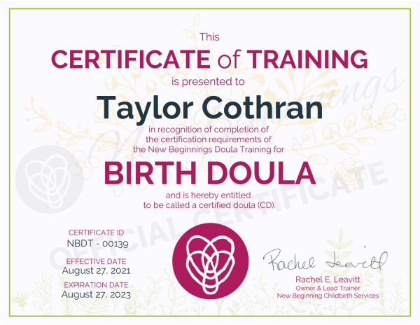 Certificate of Training Taylor Cothran Birth Doula