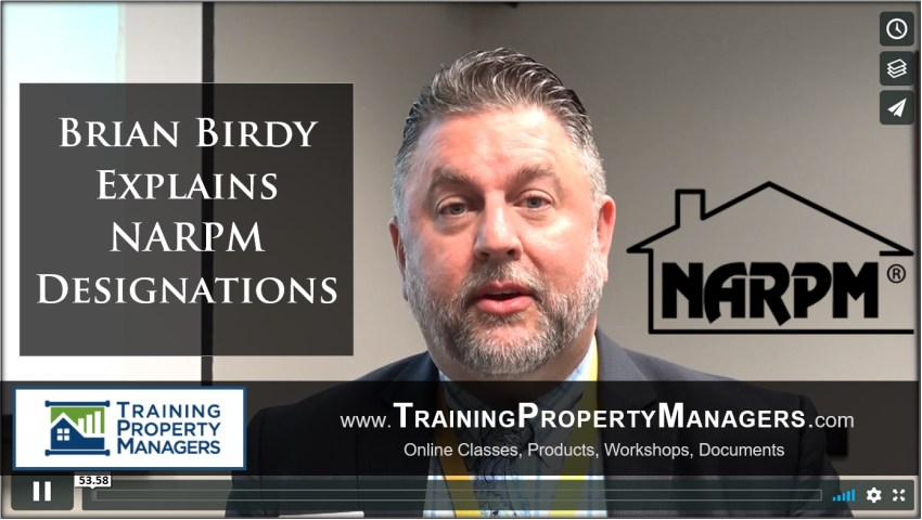 Brian Birdy NARPM Designations from Cary NC by Training Property Managers