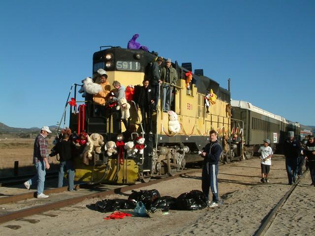 Volunteers decorating engine