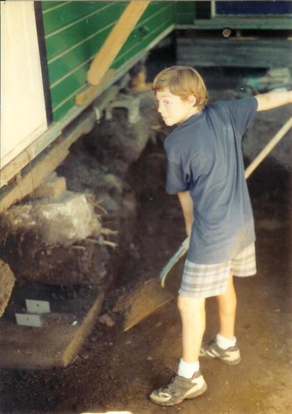 Learning to work hard! Digging a foundation under our house growing up.