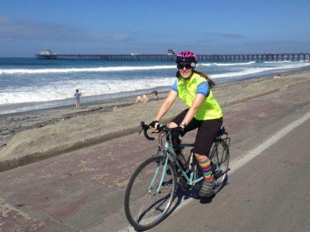 Riding the beach path near San Clemente.