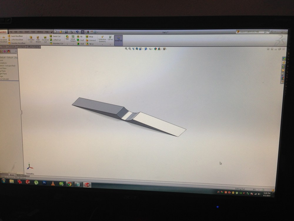 Designing the door stop in Solidworks.
