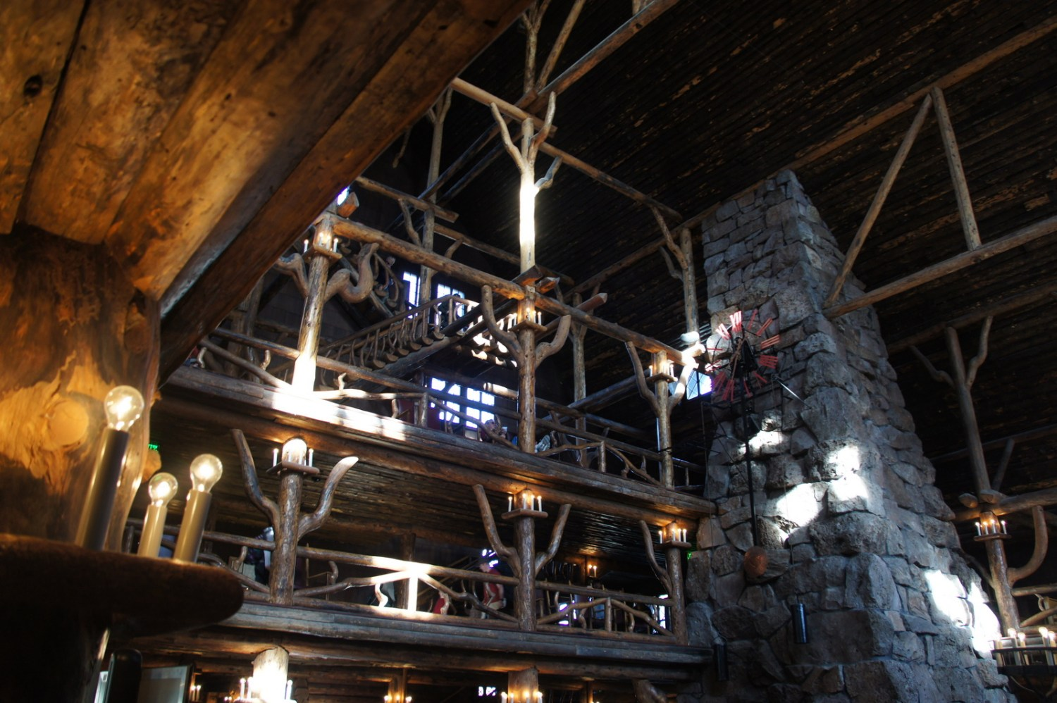The majestic, old-timber lodge near Old Faithful. A great dinner in a cool rustic space that reminded me of Timberline near Mt. Hood.