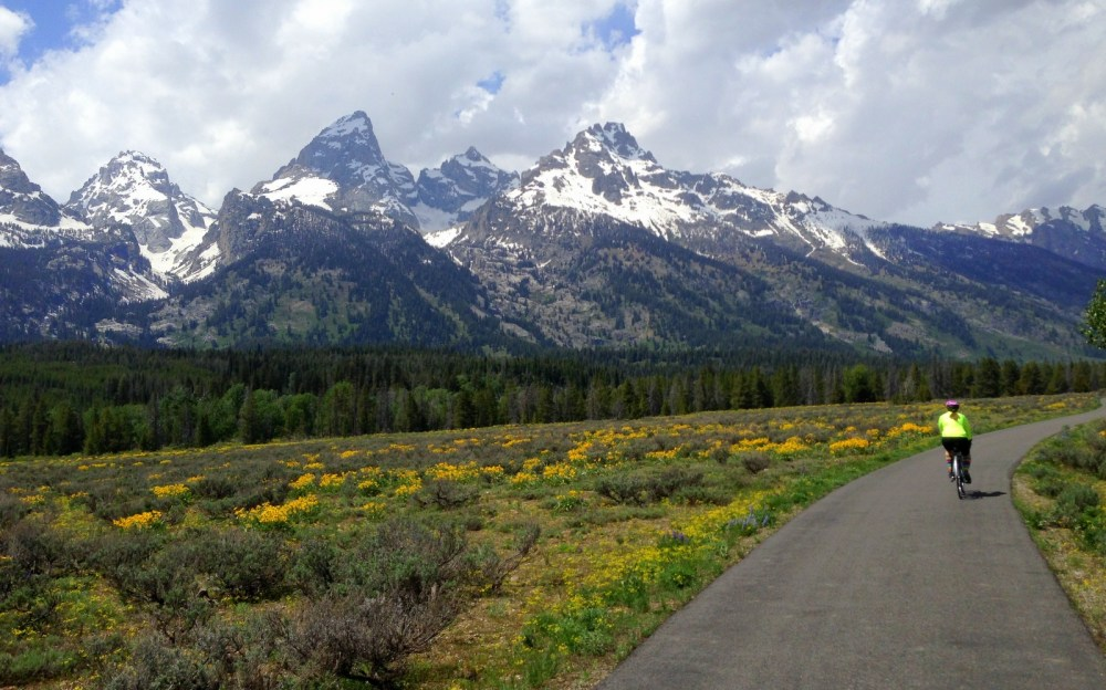 Cruising the bike-only path (20 miles!) in Grand Teton National Park. Best backdrop for a ride I've seen on this trip.