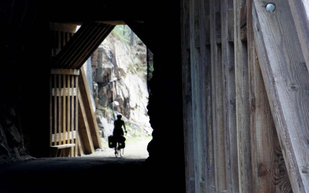 The trail cuts through a number of cool old tunnels from the railroad days.
