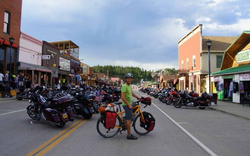 Hill City, SD is overrun by bikers, plus the lone cyclist.