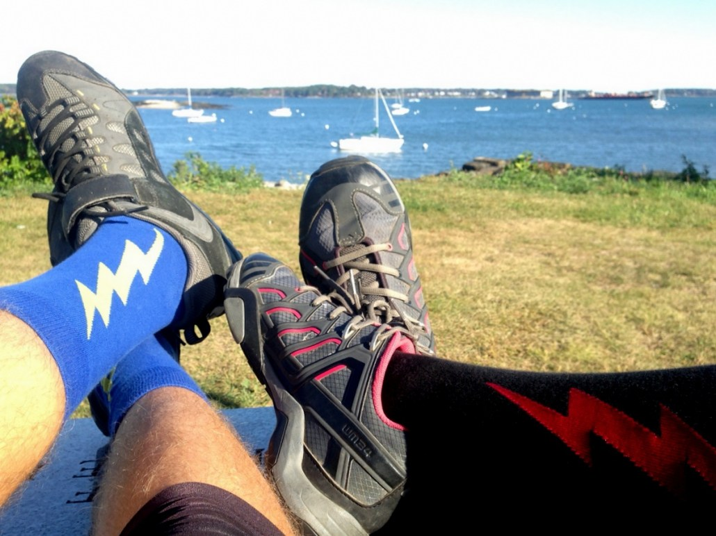 Every finish to a bike ride requires matching lightning socks! D is blue/yellow, C is black/red. Shazam!