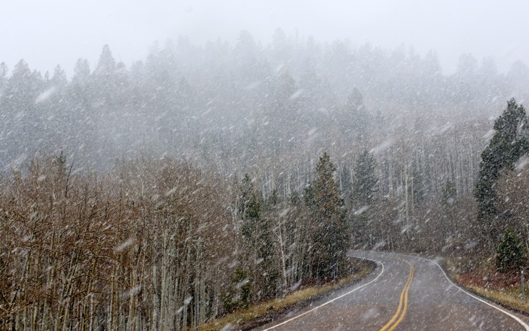 Can't always avoid bad weather! A snowstorm hits on the way over the 9,600' pass near Escalante, Utah.