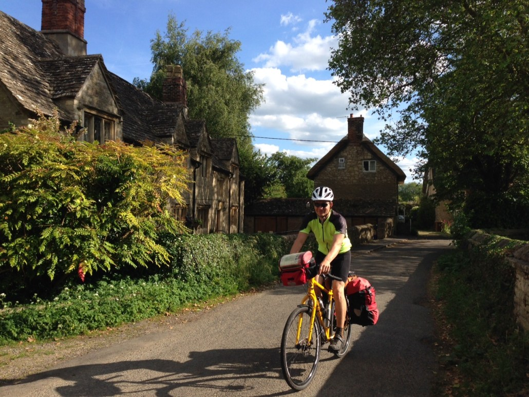 Pedaling through a centuries-old village north of London.