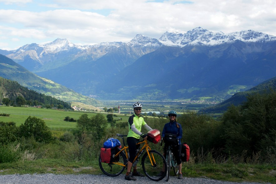 Climbing a pass in NE Italy during a cycle tour of Europe.