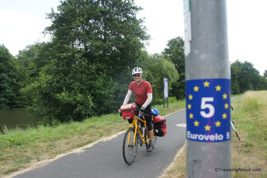Just follow the stickers! Crossing into France from Germany on the EuroVelo 5.