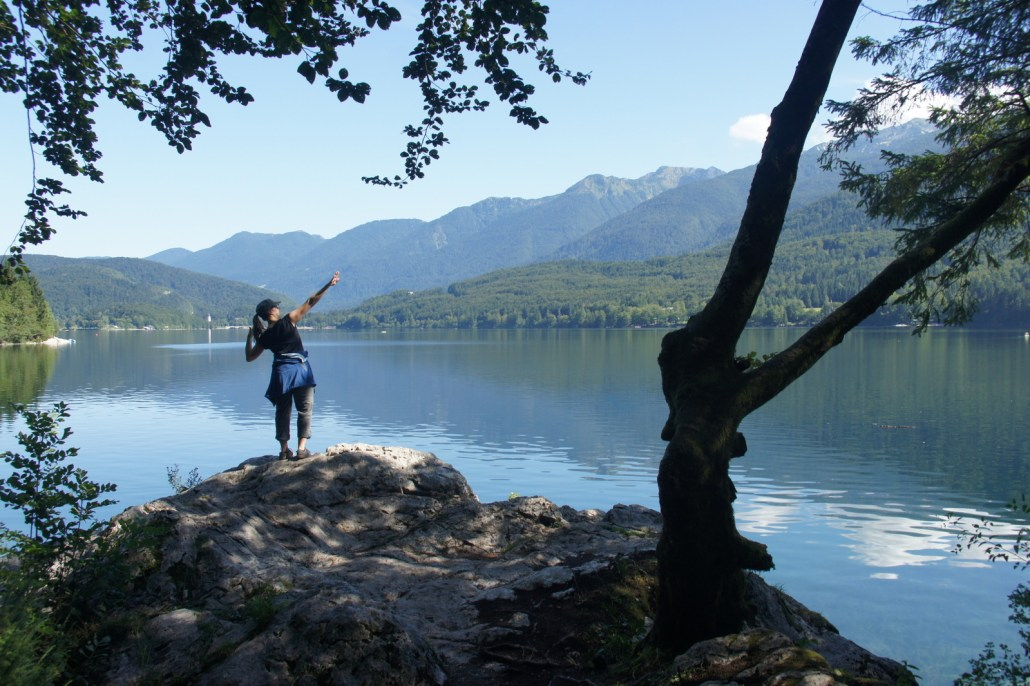 Hiking (followed by swimming) on a rest day at Lake Bohinj, Slovenia.