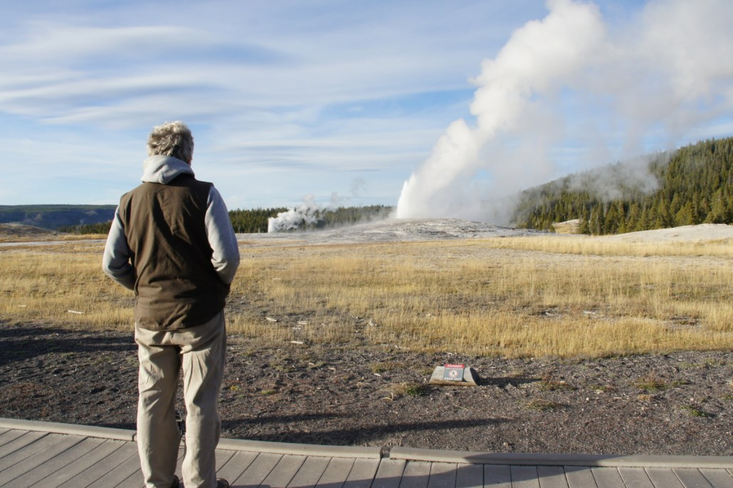 We walked up to Old Faithful in Yellowstone and it immediately put on a show!