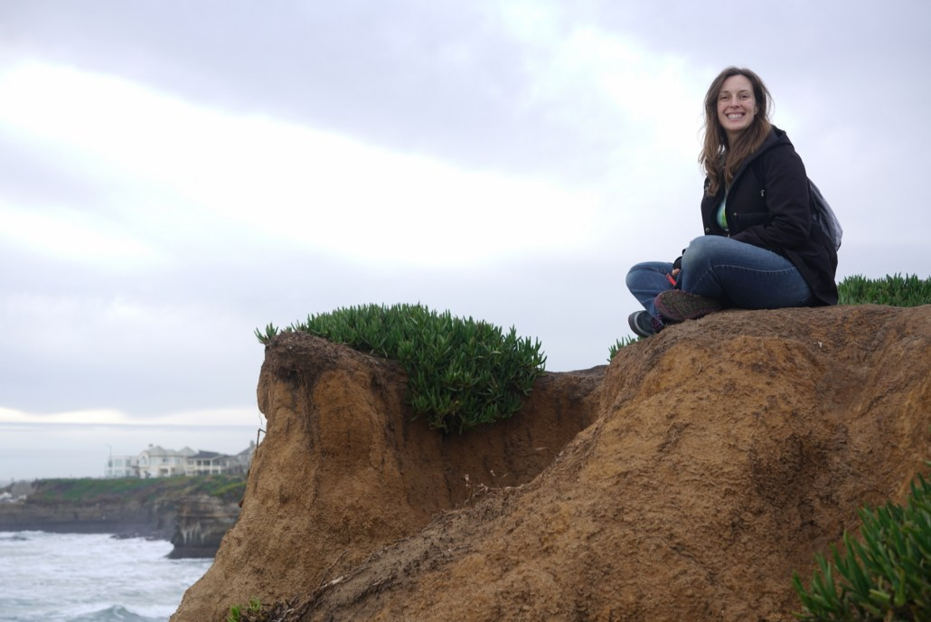 Chelsea enjoying a sunset on Santa Cruz's west cliffs.