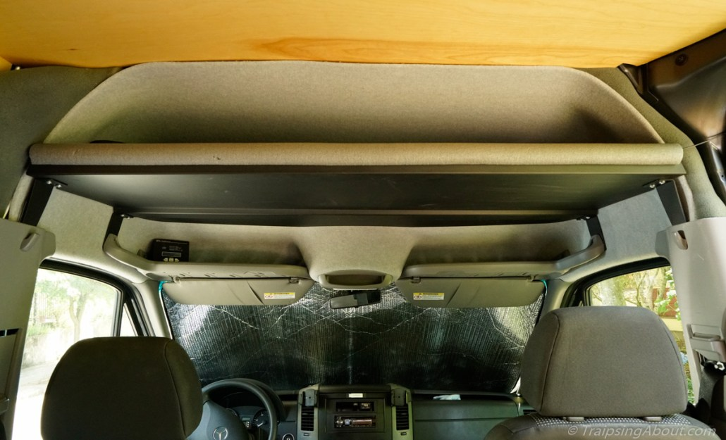 Headliner half shelf in final installed position.