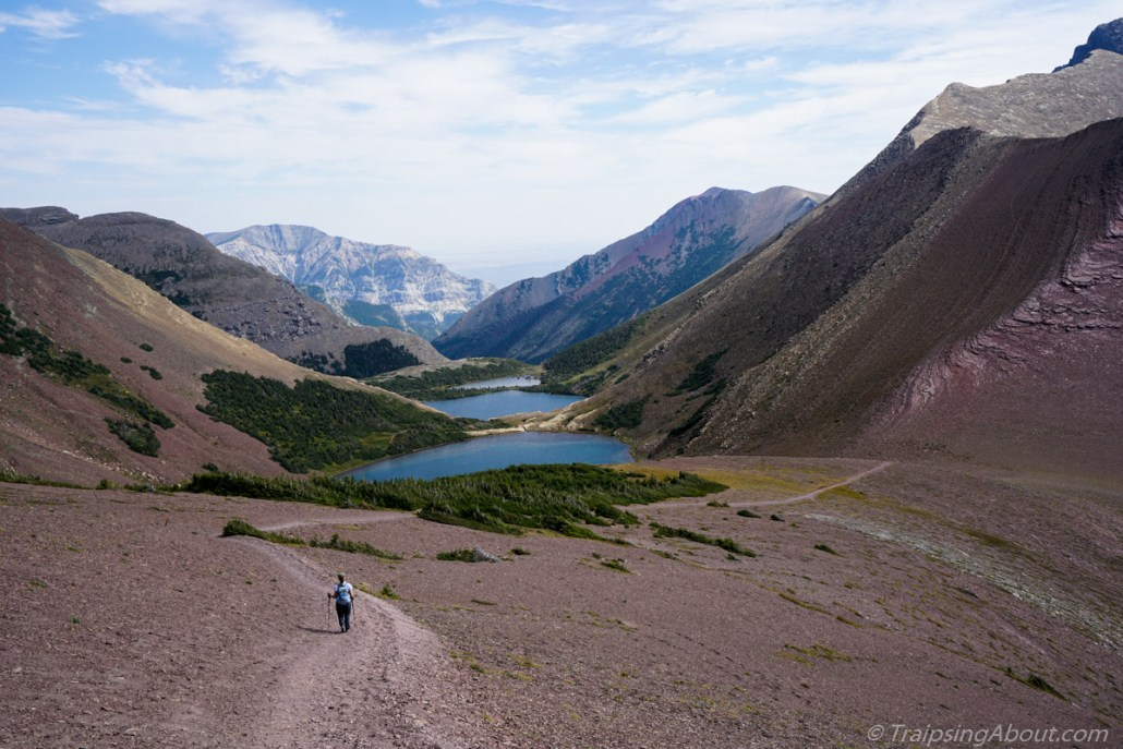 Not all biking - the Rockies have some awesome hikes too! Here's Chelsea heading down toward Waterton on the Carthew-Alderson.