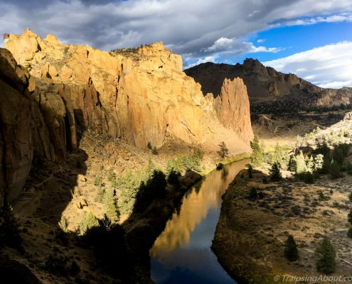 Smith Rock: My new backyard climbing playground and all-around beautiful location. Sunset turns the Crooked River into a perfect mirror of the red rock walls.