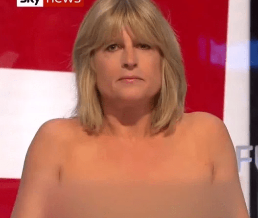 Rachael Johnson bares it all as she goes topless on TV for Brexit debate