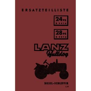 Lanz-Bulldog Traktor Ersatzteilliste D2416 D2816 24PS 28PS