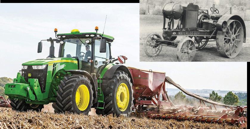 traktorpool präsentiert die Top 5 Traktorgiganten und ihre Urahnen. John Deere 8400 R vs John Deere Waterloo Boy.