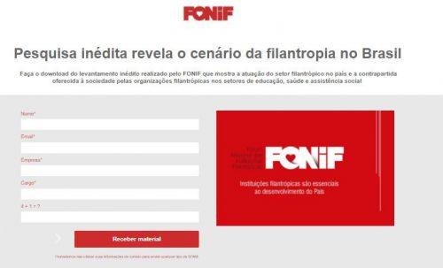 Fonif_landing page pesquisa filantropia no Brasil