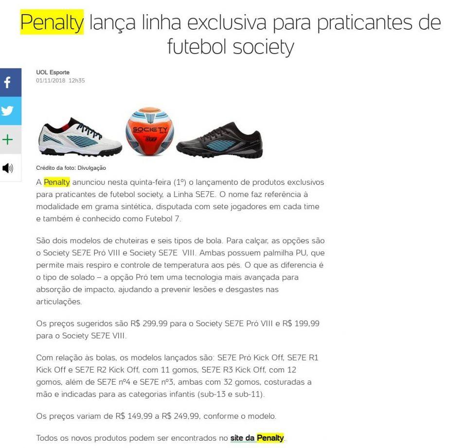 0792c9e3a6 Penalty lança linha exclusiva para praticantes de futebol society – UOL