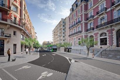 Biarritz - avenue Reine Victoria avec l'arrivée du Tram'bus ©Arotcharen architecte