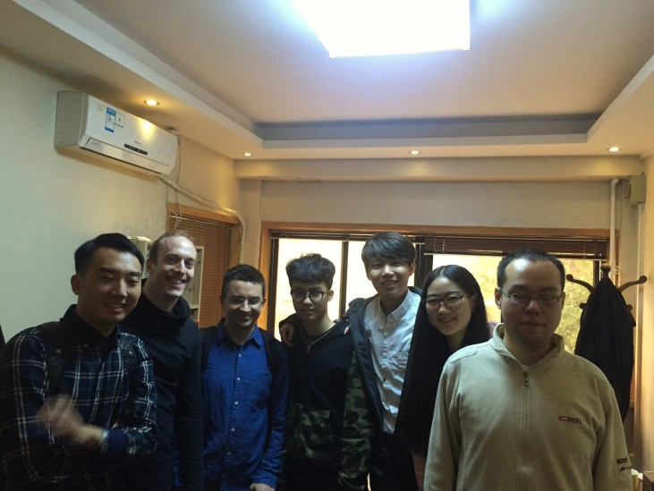 Leading a composition masterclass. From left to right: Hao Yu Wang, George Holloway (Head of Composition), me, Hao Ting Tian, Yan Le Zhang, Yue Li and Ping An