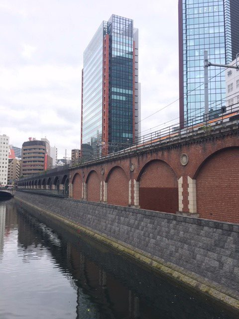 The overpass as it is today. Red bricks were also produced in Japan towards the end of Edo period.