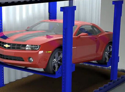 red car in container