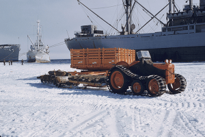 Tractor used by Sir Edmund Hillary on Commonwealth Trans-Antarctic Expedition at off-load from the HMNZS Endeavour