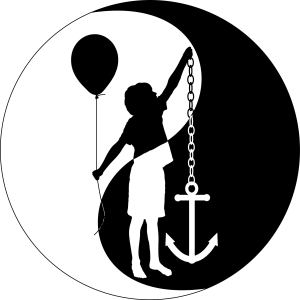Logo of a boy holding an anchor and a ballon.