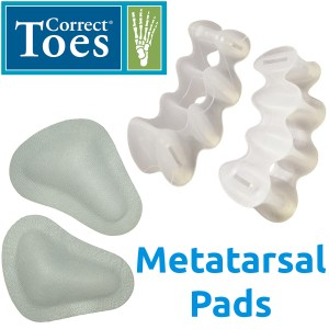 Foot Health Accessories, Metatarsal Pads and Correct Toes.