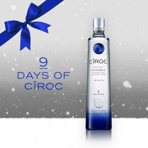 Ciroc Vodka Bottle On Christmas Themed Background 9 Day Countdown With Snow And Blue Bow Graphics