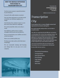 Transcription services, translation services and typing services