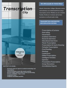 Transcription City Transcription Services for Universities and Educational Institutions
