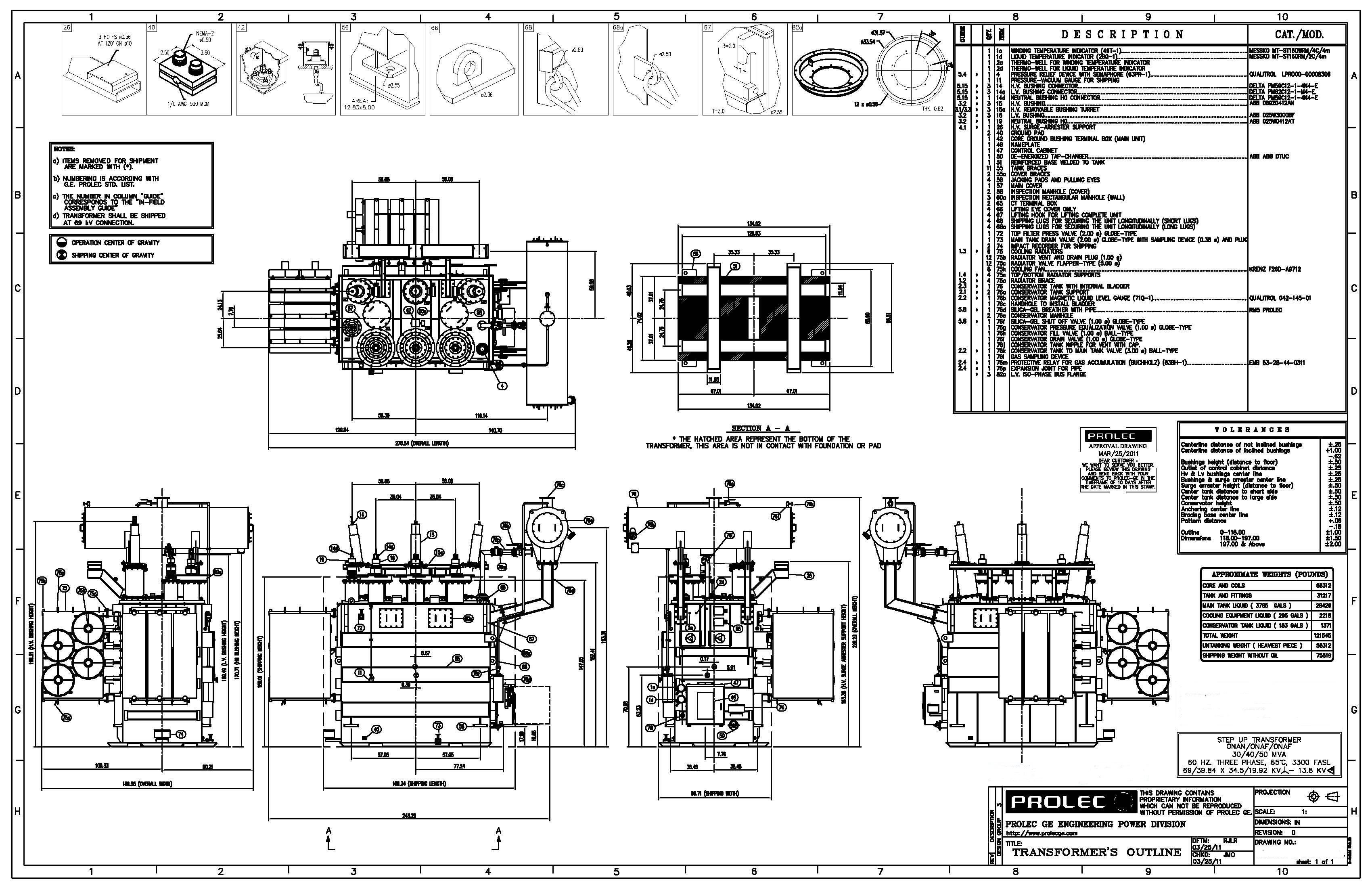 GE Prolec, Generator Step Up Transformer 30/40/50 MVA, 69